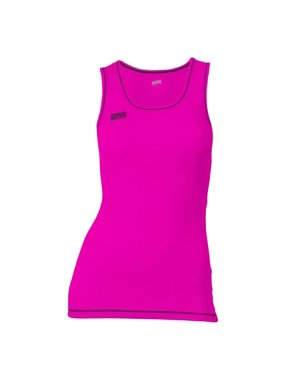 Juniors Neon Thrd Basic Tank, Pink Glo & Black - Medium
