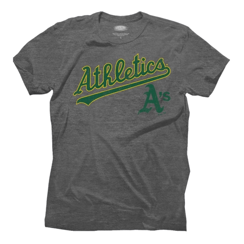 Oakland Athletics Majestic Threads Granite Tri-Blend Crew T-Shirt - Gray