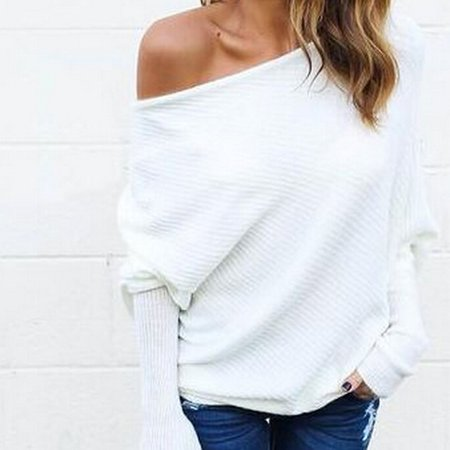 (Cozime Sexy Strapless Bat Sleeve Off Shoulder Women Knitted Cardigan Sweater Shirts)