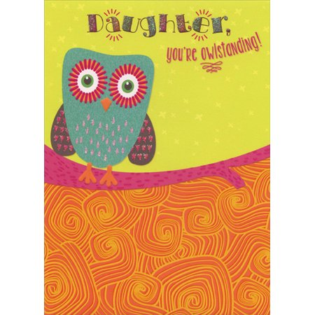 Designer Greetings Cute Owl on Pink Branch with Glitter Accents: Daughter Birthday Card