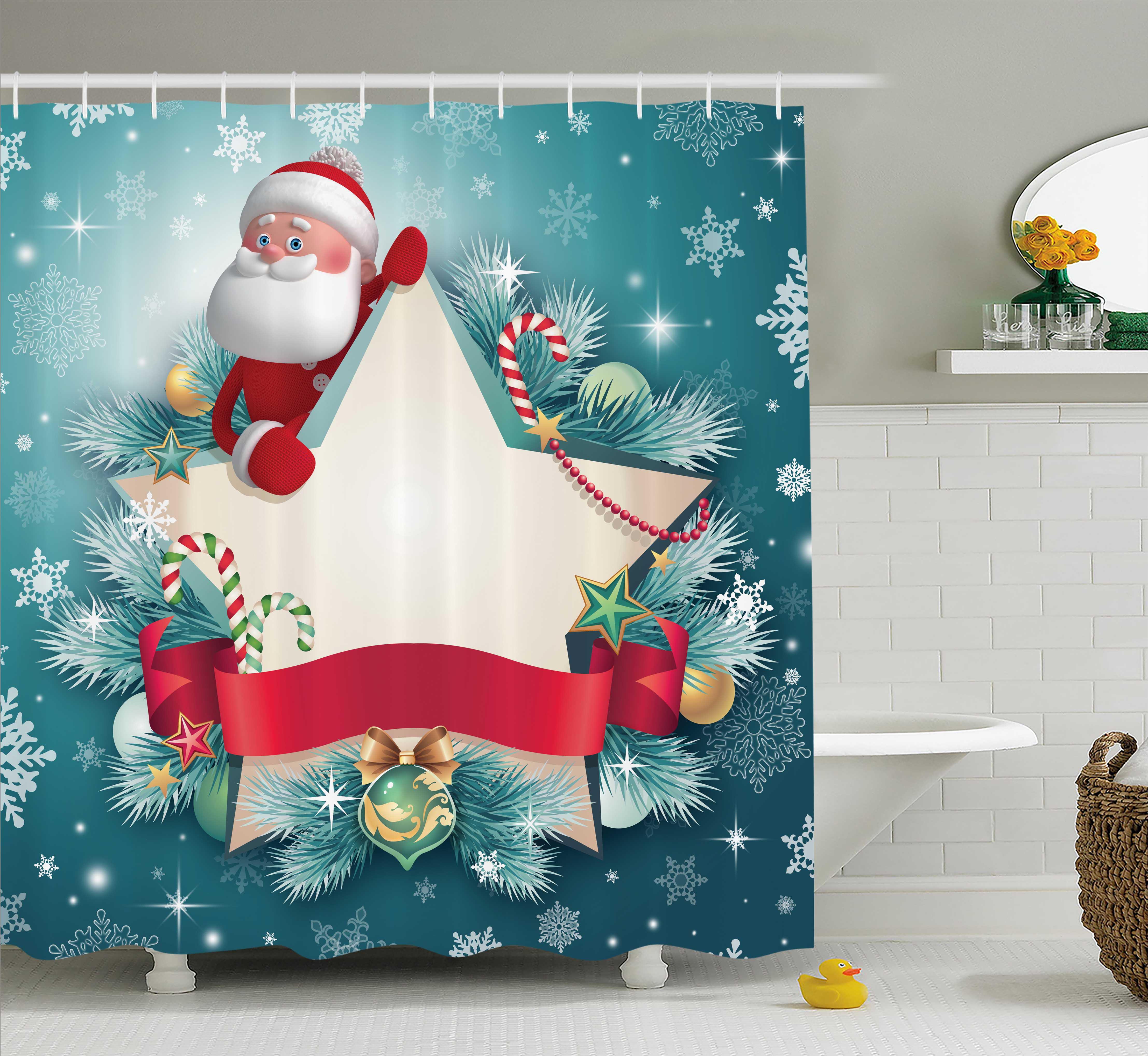 Xmas Tree Window Snowflake Santa Bathroom Shower Curtain Set Waterproof Fabric