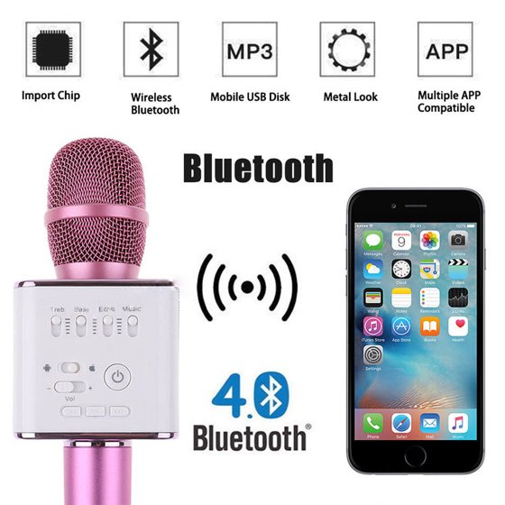 Efficient Portable Wireless Microphone Pink Karaoke Player Bluetooth Speaker Usb And Digestion Helping Other Karaoke Entertainment