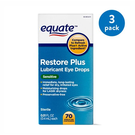 (3 Pack) Equate Restore Plus Lubricant Eye Drops, For Lasik Dryness, 70