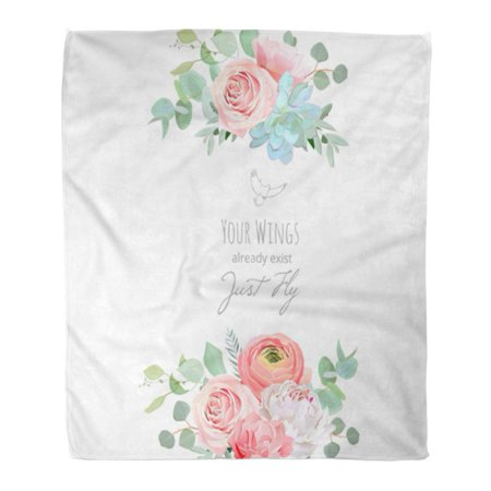 HATIART Flannel Throw Blanket Delicate Wedding Floral Bouquet White Peony Peachy Rose Ranunculus Soft for Bed Sofa and Couch 50x60 Inches - image 1 of 1