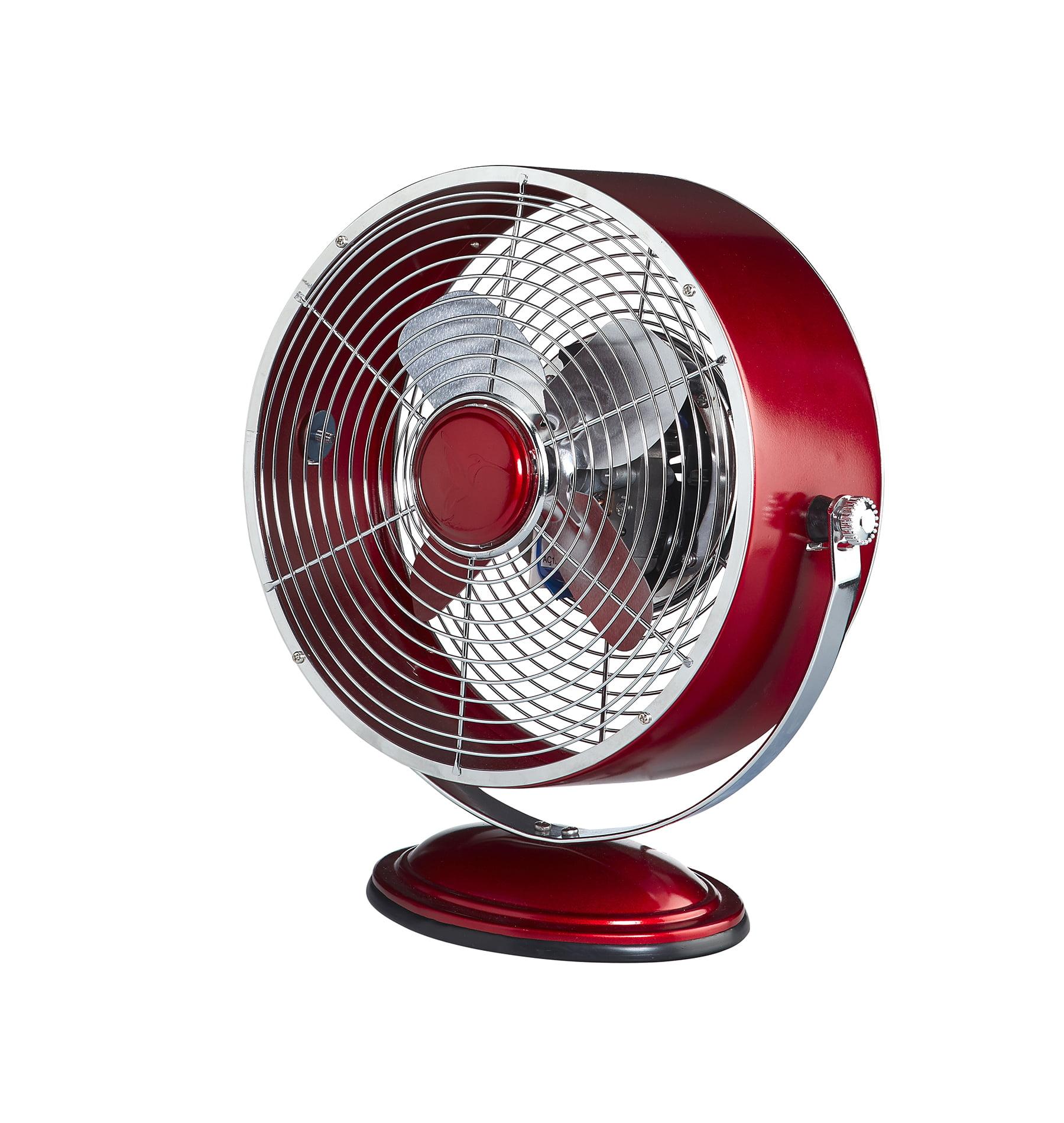 DecoBREEZE Retro Fan Air Circulator Table Fan with Full Pivot Fan Head, Metallic Red