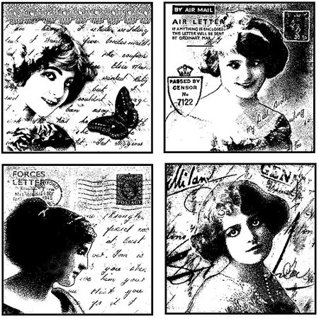 """Crafty Individuals Unmounted Rubber Stamp, 4.75"""" x 7"""", Love Letter Ladies"""