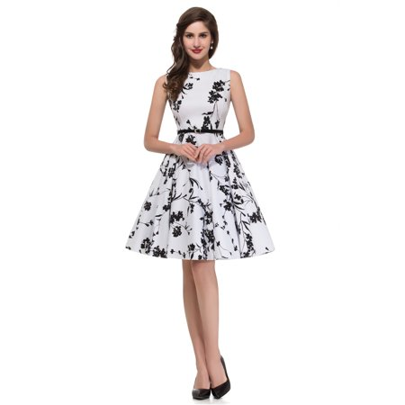 Womens Vintage 1950's Sleeveless Floral Rockabilly A-Line Party Dress with (1950's Havana Fashion)