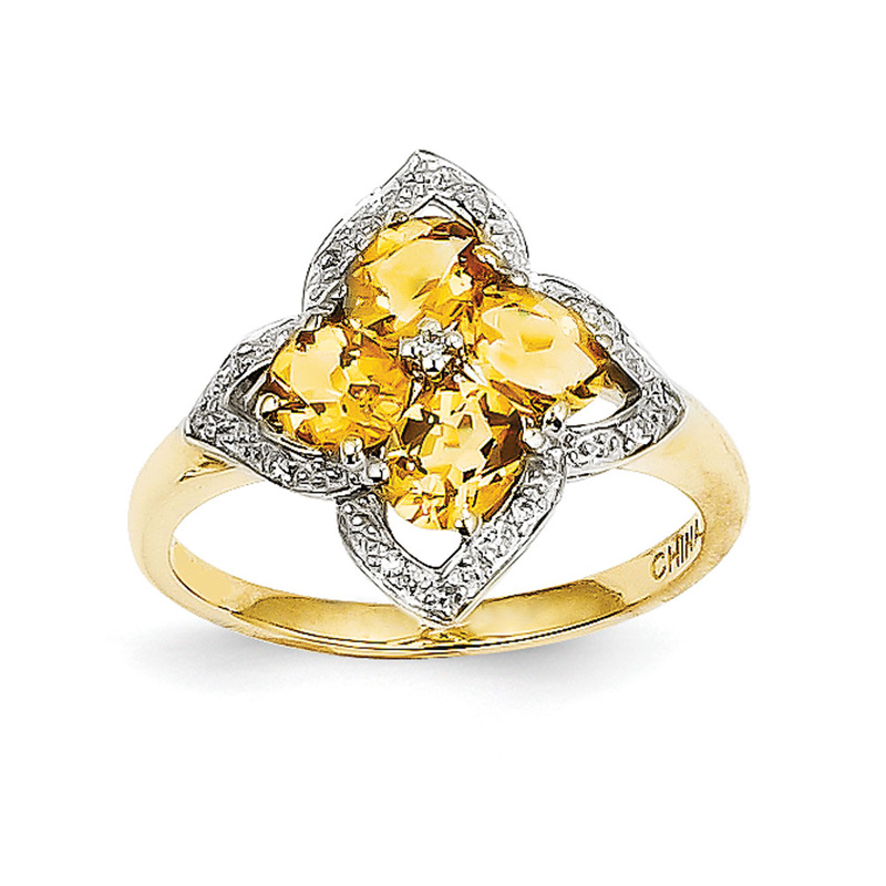14K Citrine and Diamond Ring by Kevin Jewelers