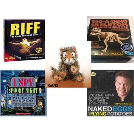 Children's Gift Bundle [5 Piece] -  Riff DVD  - T-Rex Dinosaur Excavation Kit  - Webkinz Collectible Lil'Kinz Mini  Stuffed Animals Tiger 7