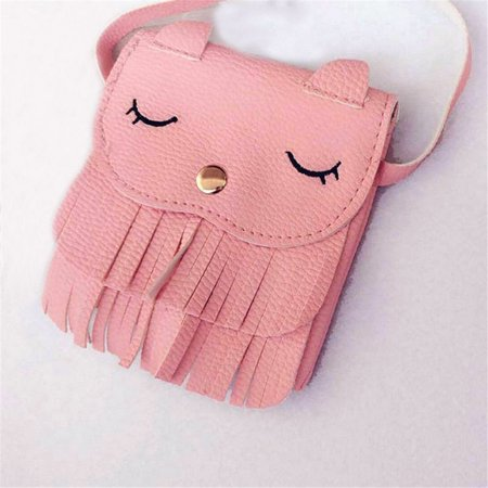 Pink Leather Mini (Kids Girls PU Leather Tassel Small Cat Shoulder Mini Messenger Bag Purses Pink)