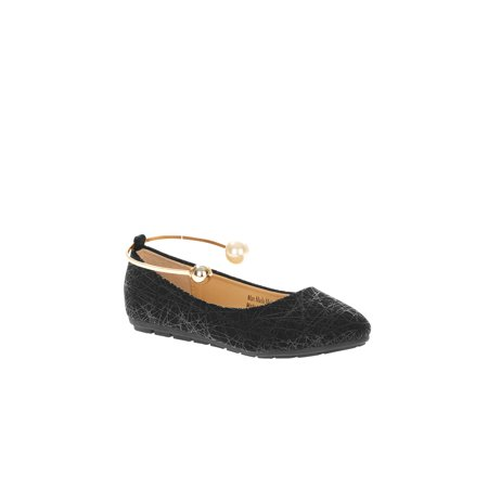 Pearl Flat - Victoria K Women's Retro Print With Pearl And Gold Ornament Ankle Bracelet Ballet Flats