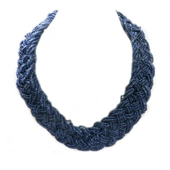 C Jewelry Navy Blue Beaded Braided Necklace
