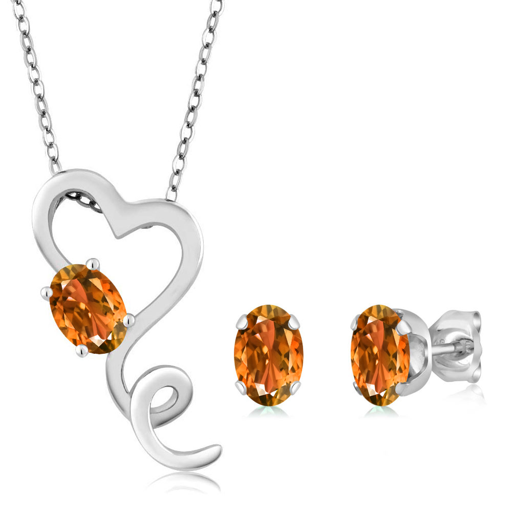 1.80 Ct Oval Yellow Citrine 925 Sterling Silver Pendant Earrings Set by