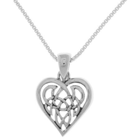 Sterling Silver Celtic Love Heart Pendant on 22 Inch Box Chain Necklace