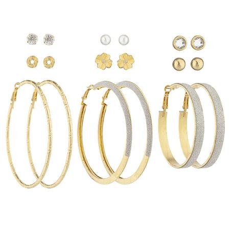 Lux Accessories GoldTone Crystal Pearl Knot Flower Stud Glitter Hoop Earring Set