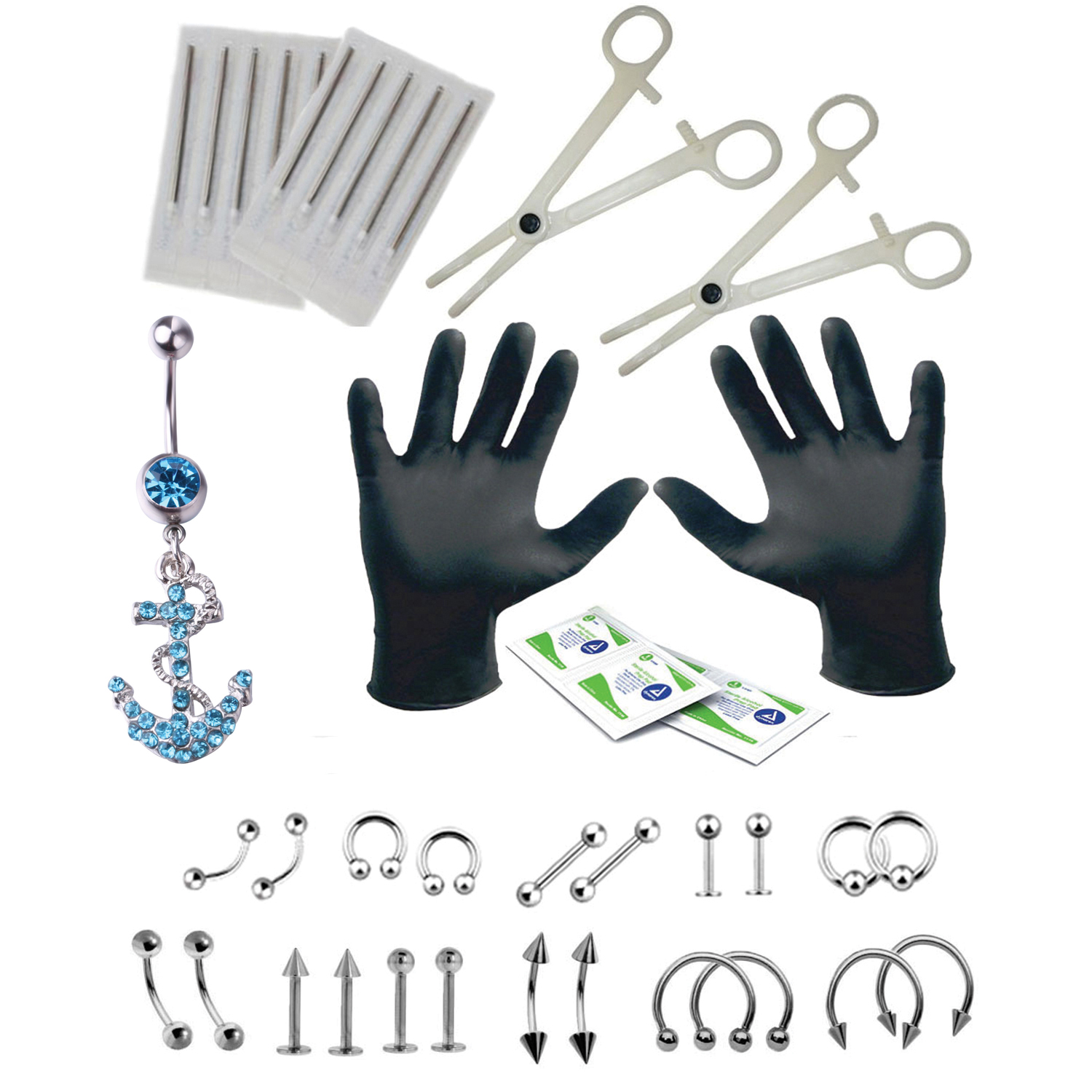 BodyJ4You 36PC PRO Piercing Kit Steel 14G 16G Anchor Belly Ring Tongue Tragus Nipple Jewelry