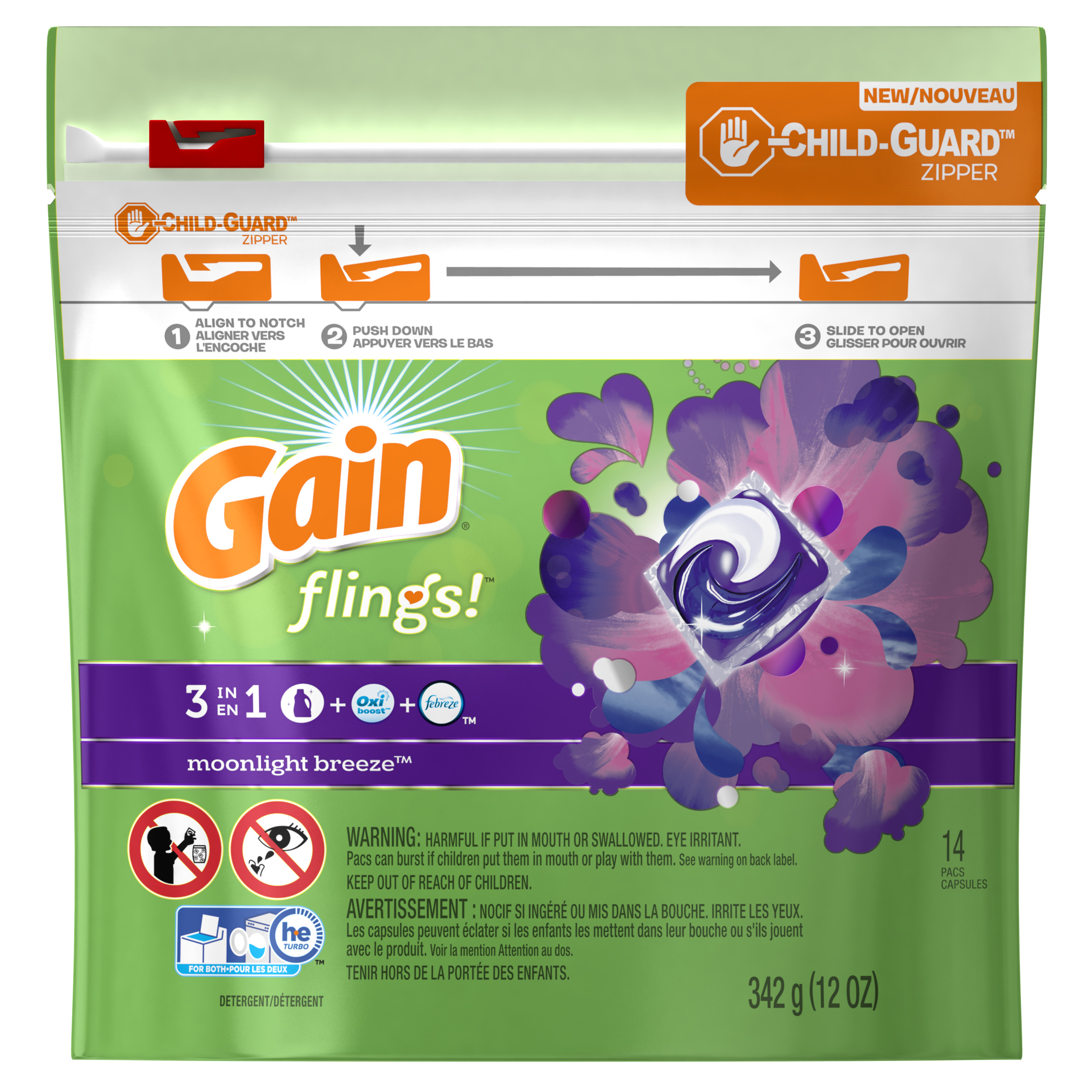 Gain flings! Laundry Detergent Pacs, Moonlight Breeze, 14 count