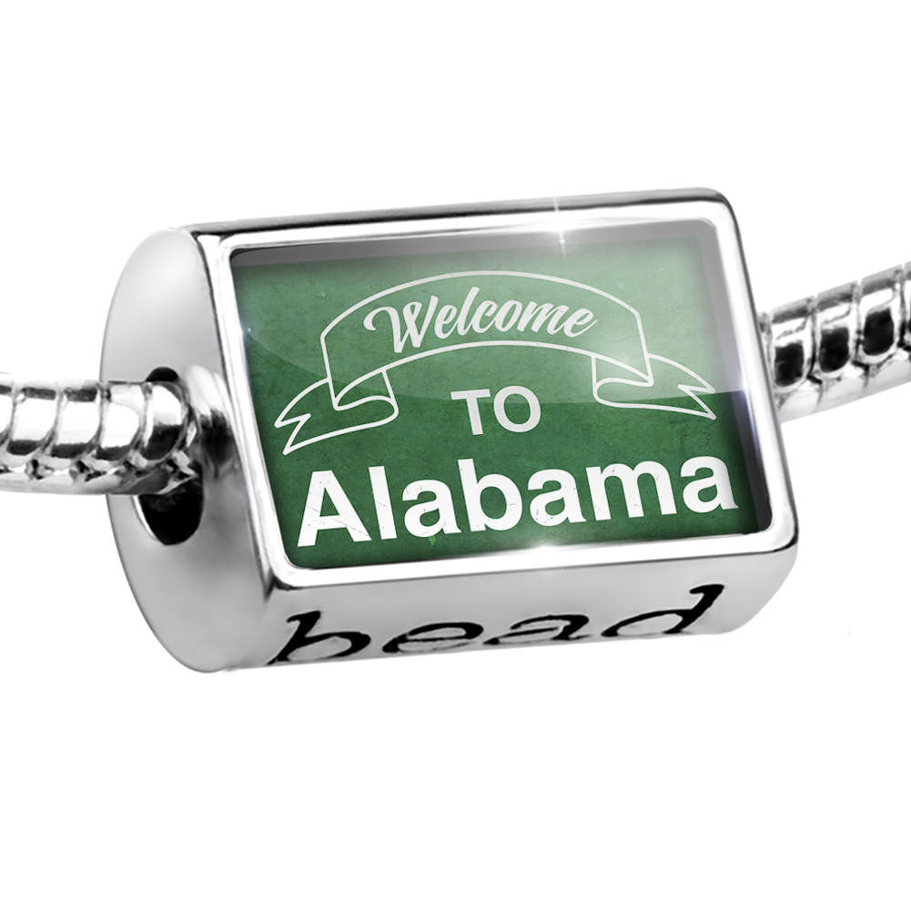 Bead Green Sign Welcome To Alabama Charm Fits All European Bracelets