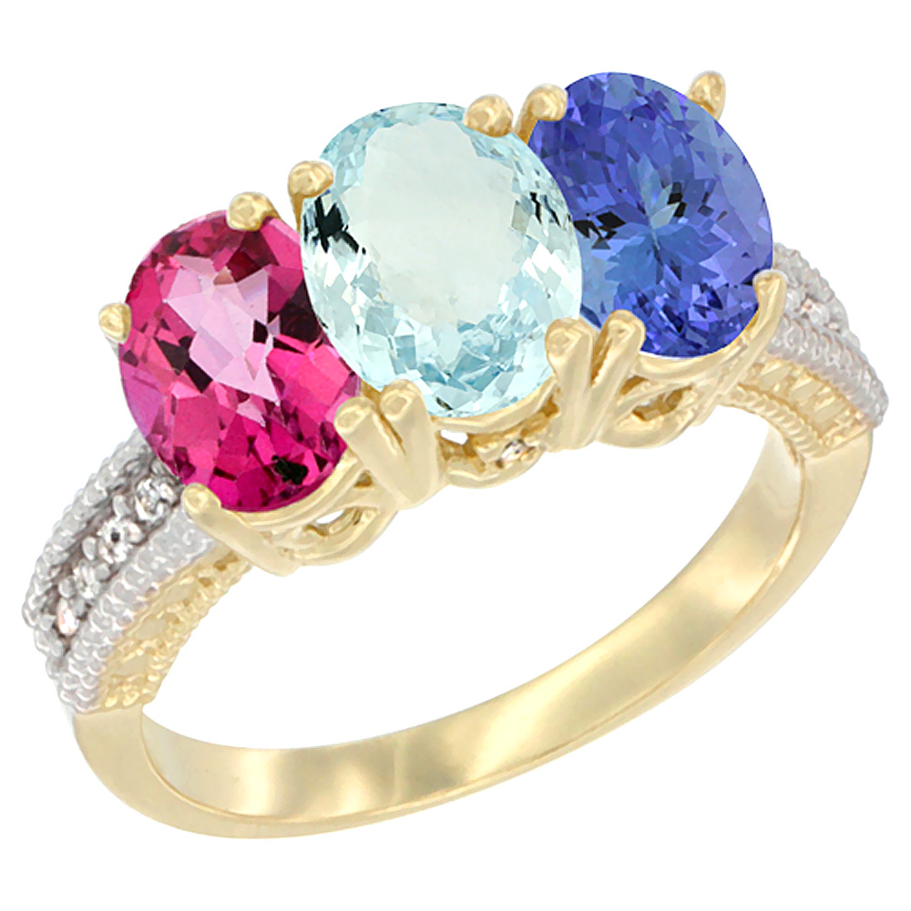 14K Yellow Gold Natural Pink Topaz, Aquamarine & Tanzanite Ring 3-Stone 7x5 mm Oval Diamond Accent, sizes 5 10 by WorldJewels