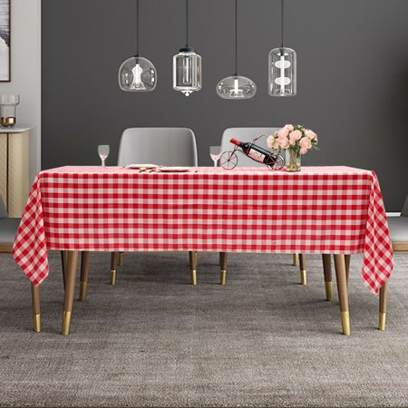 "Gymax 10Pcs 60""x126"" Rectangular Polyester Tablecloth Red & White Checker Party - image 4 of 10"