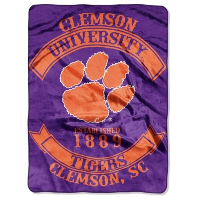 Clemson Tigers 60''x80'' Royal Plush Raschel Throw Blanket - Rebel Design
