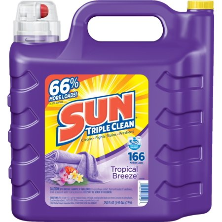 Sun Triple Clean Laundry Detergent  Tropical Breeze  166 Loads