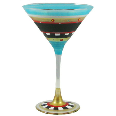 Set of 2 Mosaic Chalkboard Hand Painted Martini Drinking Glasses - 7.5 Ounces