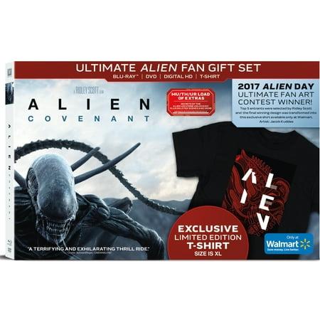 Alien  Covenant  Ultimate Alien Fan Gift Set   Walmart Exclusive   Blu Ray   Dvd   Digital Hd   T Shirt