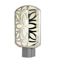 GE CoverLite LED Plug-In Night Light, Petals Design, Brushed Nickel, 11314