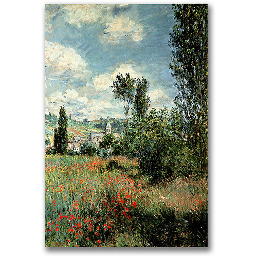 "Trademark Fine Art ""Path through the Poppies"" Canvas Wall Art by Claude Monet"