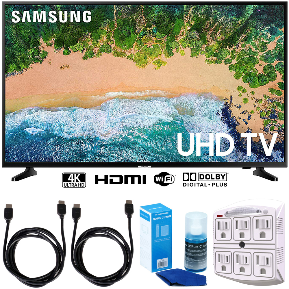 """Samsung UN65NU6900 65"""" NU6900 Smart 4K UHD TV (2018) w/ Accessories Bundle Includes, 2x 6ft HDMI Cable, LED TV Screen Cleaner (Large Bottle) and SurgePro 6-Outlet Surge Adapter w/Night Light"""