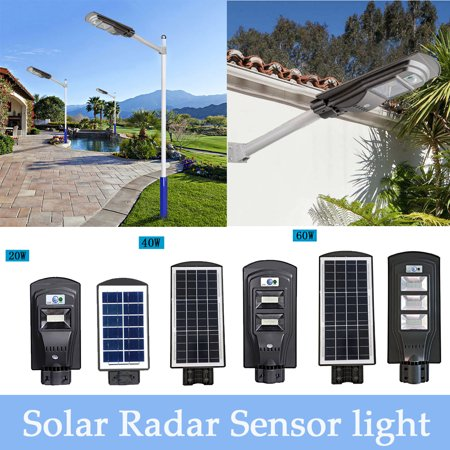 20W 40W 60W 1000 LUM Super Bright Polycrystalline LED Solar Powered Wall Street Light Motion Outdoor Garden Lamp PIR Radar and PIR Induction For Garage/Courtyard/Garden/Path ()