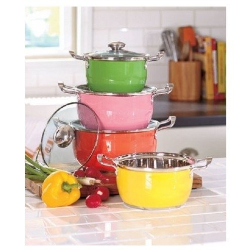8 Pc Colorful Cookware Set Clear Glass Vented Lid Carrying Handle Kitchen Stainless Steel Pots