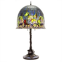 River of Goods Tiffany Style Flowering Lotus Stained Glass Table Lamp