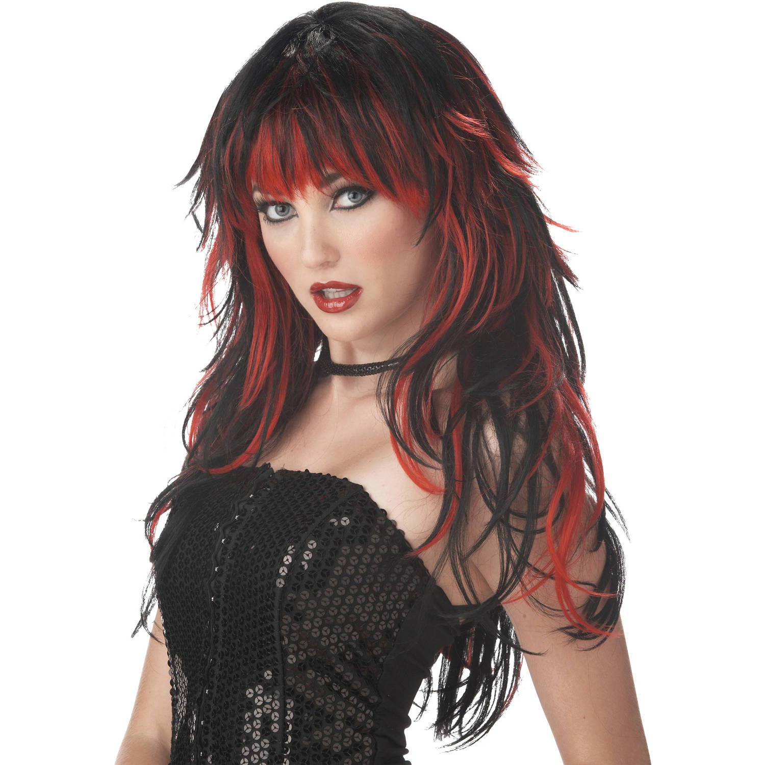 Red/Black Tempting Tresses Wig Adult Halloween Accessory