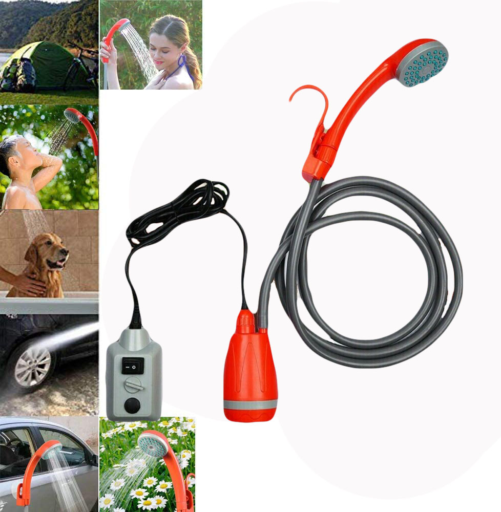 Hiking Electric Compact Shower Pump with USB Rechargeable Battery Traveling Portable Camping Shower Handheld Outdoor Shower Head for Camping