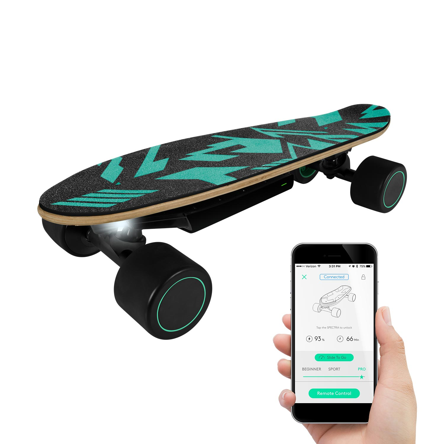 Rayscoo Built-in LED Light Teamgee Electric Skateboard 10MPH Safety Speed Portable Mini Skateboard Hands Free