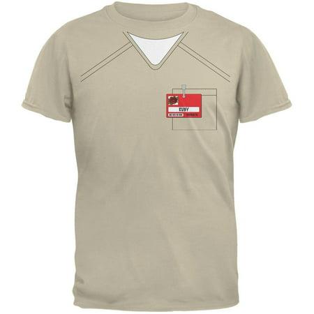 Halloween Prisoner Uniform Costume Ruby Rose Inmate Sand Adult T-Shirt (Prisoners Costumes Halloween)