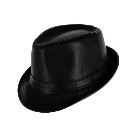 Men's Faux Leather Trilby Fedora Hat (Faux Leather Hat)