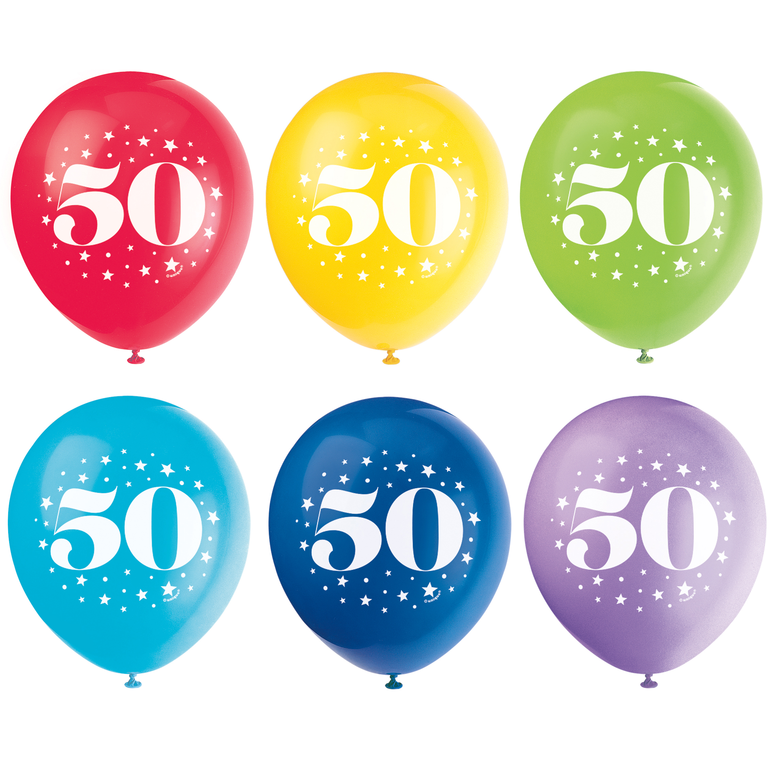 Latex Milestone Number 50 Balloons, Assorted, 12 in, 6ct