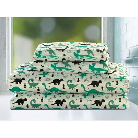 Dinosaur Twin Size 3 Piece Sheet Set Microfiber Kids Boys Bedding, Green and Black 3 Piece Bee Set