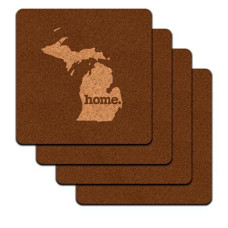 Michigan Mi Home State Low Profile Cork Coaster Set   Solid Brown