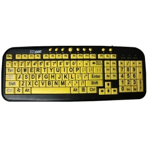 EZSEE LOW VISION KEYBOARD LARGE WHITE PRINT BLACK KEYS