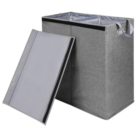 SortWise Foldable Double Laundry Hamper Sorter with Magnetic Lid and Removable Liners Laundry Bin, Build in Side Carrying Handles, Gray - image 3 of 5