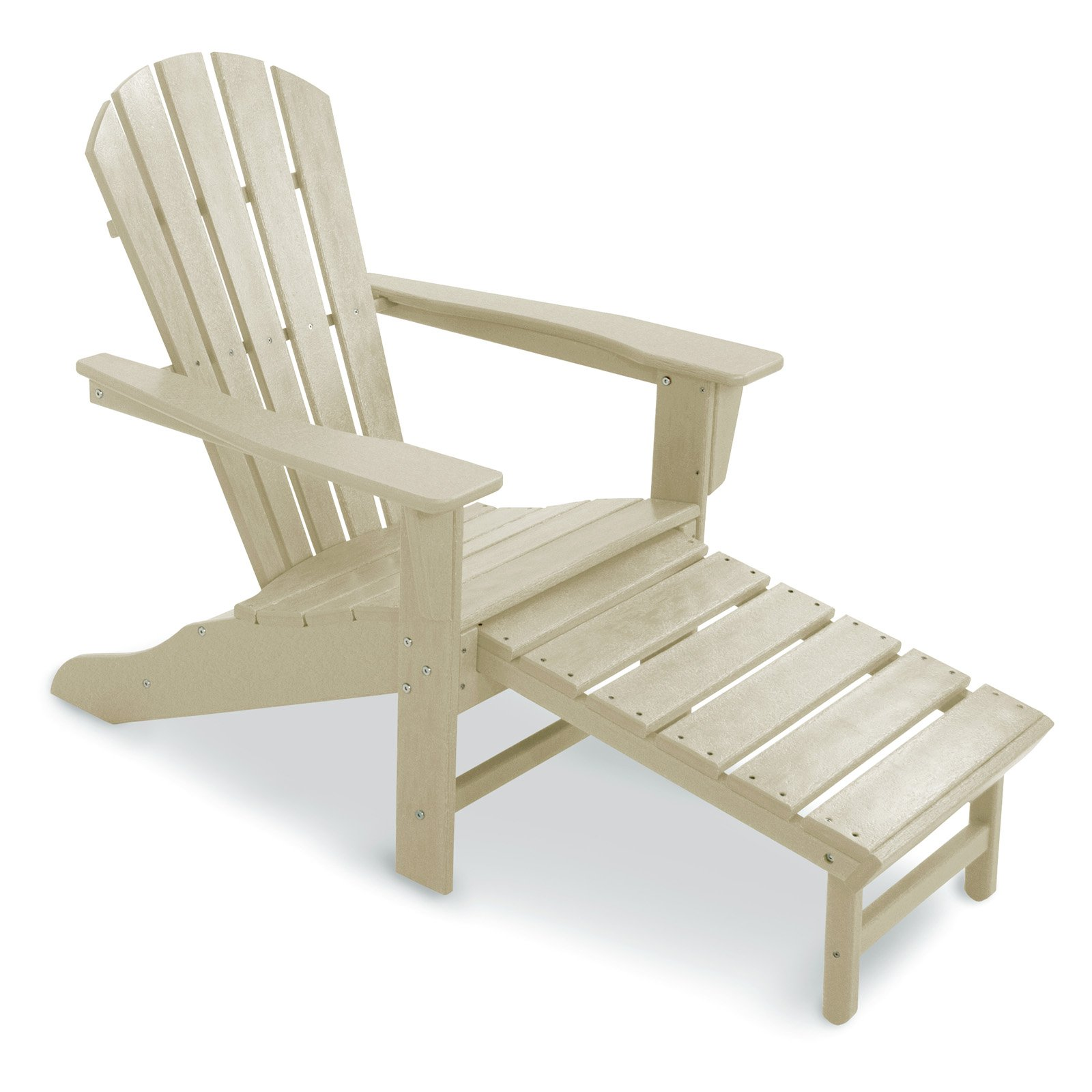 POLYWOODu0026reg; Recycled Plastic Big Daddy Adirondack Chair With Pull Out  Ottoman