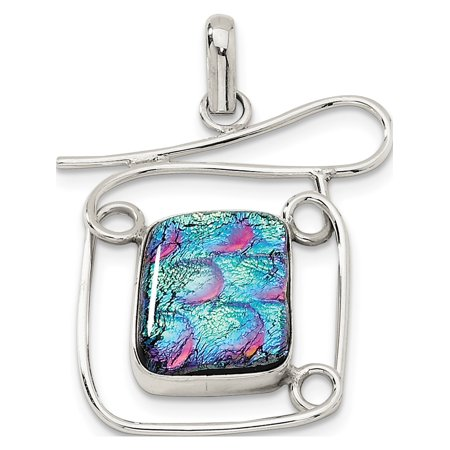 Leslies Fine Jewelry Designer 925 Sterling Silver Multicolor Dichroic Glass Fancy (38x47mm) Pendant Gift