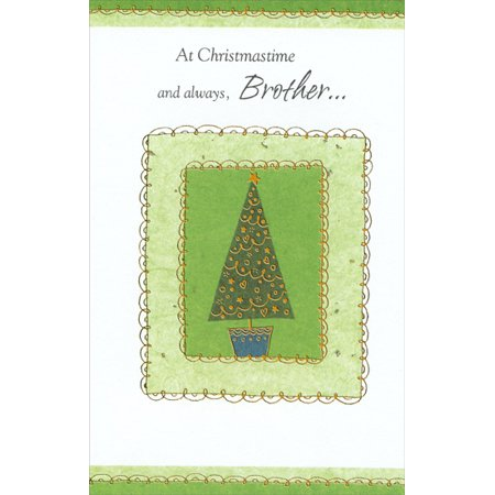 Freedom Greetings Tree with Gold Swirl Borders: Brother Christmas Card