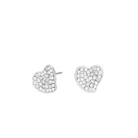 Valentines Day Pierced Heart - TAZZA WOMEN'S RHODIUM HEART CRYSTAL  EARRINGS GIFT FOR HER VALENTINE'S DAY IDEA