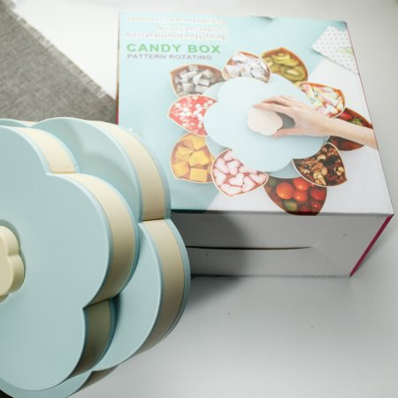 Double Layers Snack Box Candy Plates Petal-Shape Rotating Snack Tray Double-deck Dried Fruit Plate Storage Organizer Box - image 6 of 7