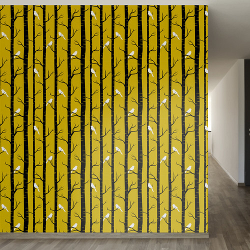 Walls Need Love Birch Birds Removable 8' x 20'' Wallpaper